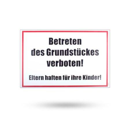 """Kunststoffschild """"Betreten des Grundstückes verboten"""" 300 mm x 200 mm"""