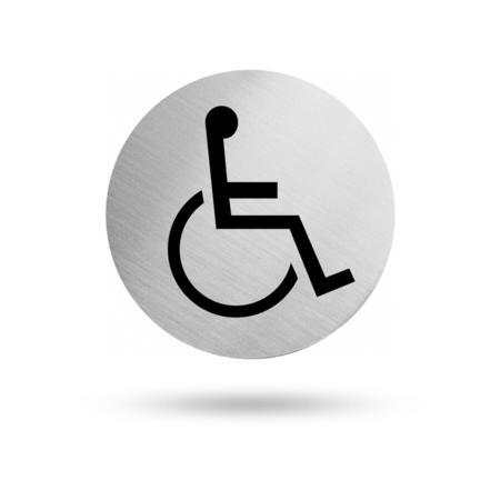 """Edelstahl Türschild """"Rollstuhlfahrer"""" 60 mm Durchmesser, selbstklebend"""