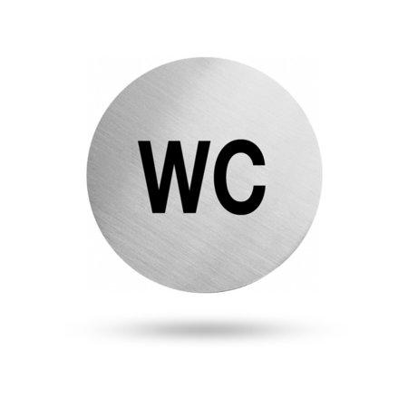 """Edelstahl Türschild """"WC"""" 60 mm Durchmesser, selbstklebend"""