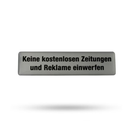 """Kunstharz Briefkastenschild """"Keine kostenlosen Zeitungen und Reklame einwerfen"""" 80 x 20 mm, selbstklebend"""
