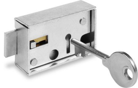 Sparbuchfachschloss, Stahlausführung, 2 vernickelte Messingschlüssel, 49 mm lang