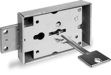 Innentresorschloss, ohne Buchse, Stahlriegel, 2 Schlüssel 58 mm lang