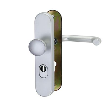 Wechsel-Garnitur für Wohnungstüren, Aluminium, Entfernung 72 mm, Vierkant 8 mm, Türstärke 38-45 mm, DIN rechts / links verwendbar