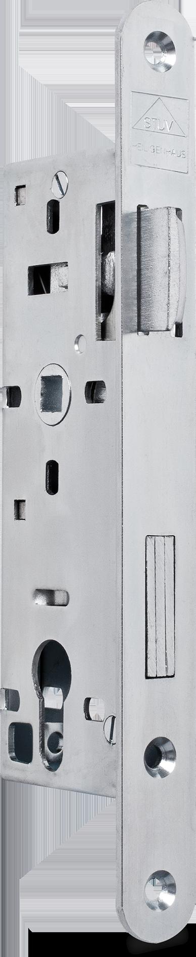 Einsteckschloss mit Wechsel, Dornmaß 35 mm, Entfernung 72 mm, Vierkantnuss 9 mm, Falle und Riegel bündig, DIN links (Falle nach Öffnen des Schlosses umlegbar)