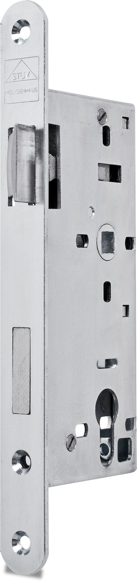 Einsteckschloss mit Wechsel, Dornmaß 50 mm, Entfernung 72 mm, Vierkantnuss 9 mm, Falle und Riegel bündig, DIN rechts (Falle nach Öffnen des Schlosses umlegbar)