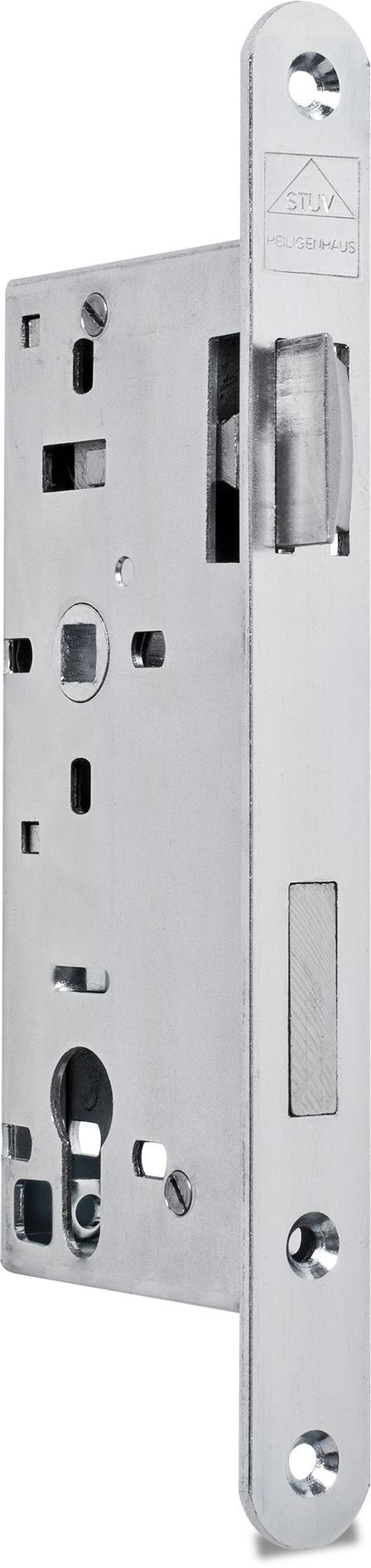 Einsteckschloss mit Wechsel, Dornmaß 50 mm, Entfernung 72 mm, Vierkantnuss 9 mm, Falle und Riegel bündig, DIN links (Falle nach Öffnen des Schlosses umlegbar)