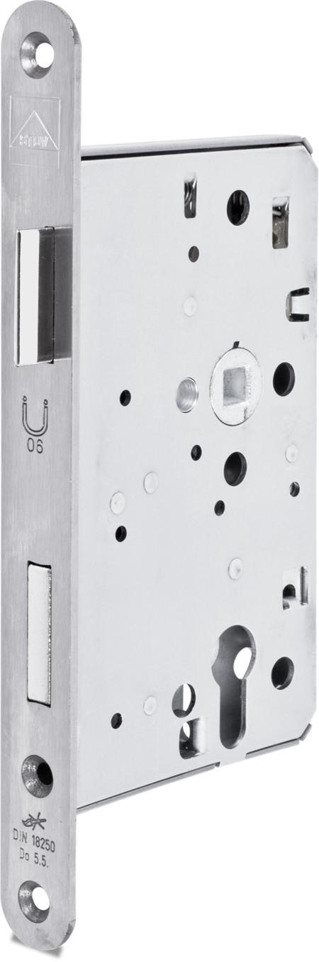 Einsteckschloss PZW, Anschlussmaße nach DIN 18250, Nuss 9 mm, Dornmaß 65 mm, Entfernung 72 mm, Stulp Stahl verzinkt cB abgerundet 24 x 235 x 3 mm, DIN rechts
