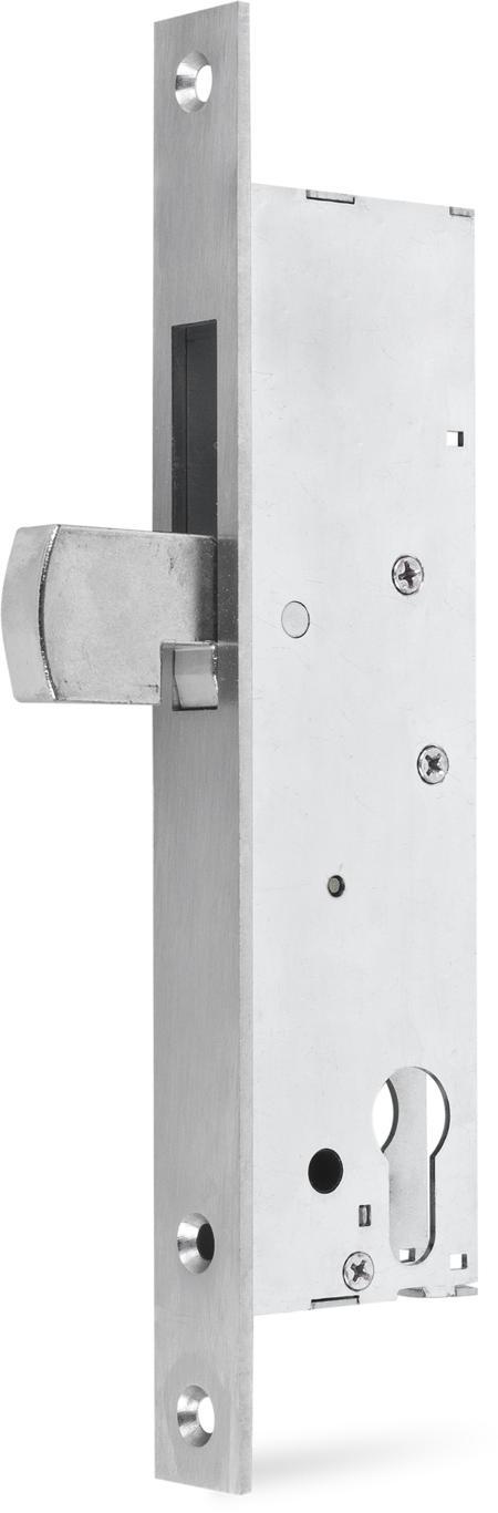 Einsteckschloss mit Schwenkhaken, Stahl verzinkt, Dornmaß 40 mm, Riegel vernickelt 34,5 mm, Stulp 245 x 24 x 3 mm