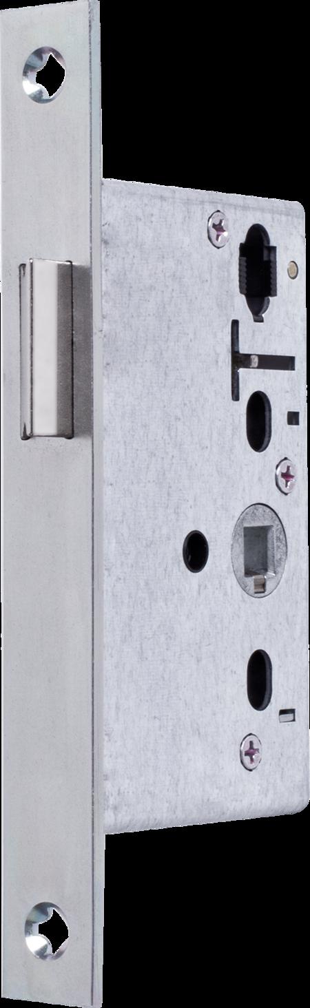 Einsteckfallenschloss Klasse 3, DIN 1825-2 Falle umlegbar, DIN rechts / links verwendbar, Dorn 50 mm, Klemmnuss 8 mm, Stulp kantig Stahl matt chromatiert 170 x 20 x 3 mm