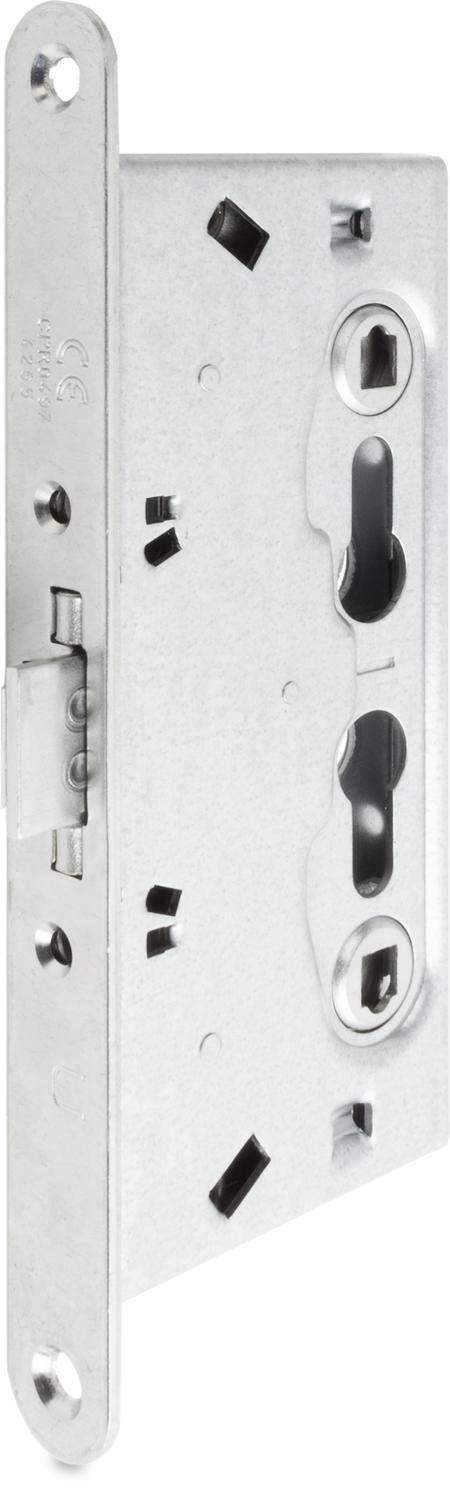 Anti-Panik- Einsteckschloss für Feuerschutz türen H 80, Stahl weiß cB verzinkt, geteilte Nuss 2 Profilzylinder vorgerichtet, Entfernung 72 mm Dornmaß 65 mm, Vierkantnuss 9 mm, Stulp 235 x 24 x 3 mm, DIN rechts / links verwendbar