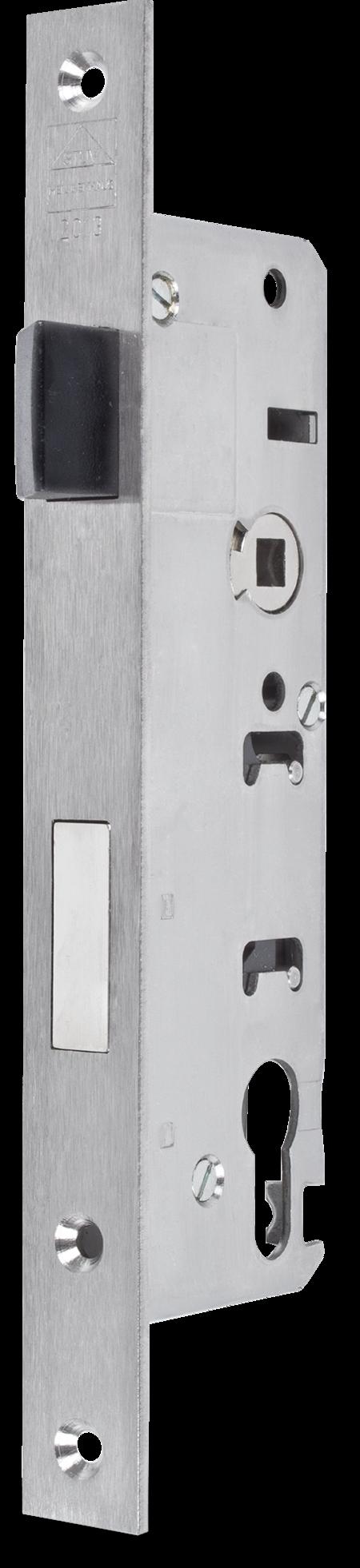 Einsteckschloss Edelstahl mit Wechsel Dornmass 40 mm, Entfernung 92 mm Falle Gliss-Coat beschichtet, bündig, Ausschluss 20 mm, DIN rechts