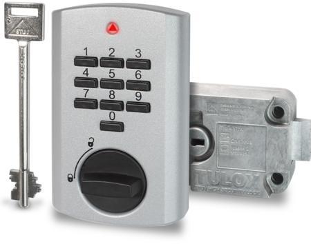 TULOX Elektronik-Tresorschloss-System VDS Schlossklasse 2 / EN 1300 B Schlosstyp 4.17.1010.X + 4.17.001X.X rechts silbern, 1 Schlüssel 130 mm lang, 1 Master8 Benutzer-Codes, Öffnungsverzögerung Umgehung der Öffnungsverzögerung