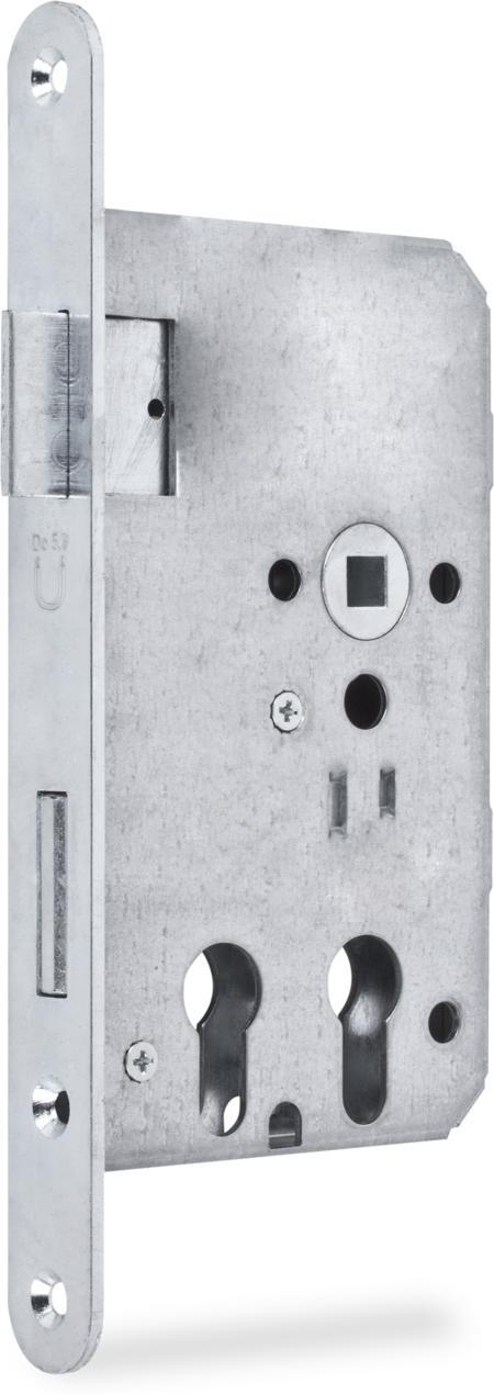 Einsteckschloss mit Wechsel, 2 Profilzylinderlochungen nebeneinander, nach DIN 18 250, Dornmaß 32 und 65 mm, Entfernung 72 mm, Vierkantnuss 9 mm, 1tourig mit Wechsel, Stulp 24 x 235 x 3 mm rund, Stahl weiß cB verzinkt, DIN rechts